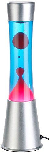 Lunartec Lava Leuchte: Lavalampe mit blauer Flüssigkeit & rotem Wachs, Glas & Aluminium (stimmungsvolle Vintage Lavalampe)