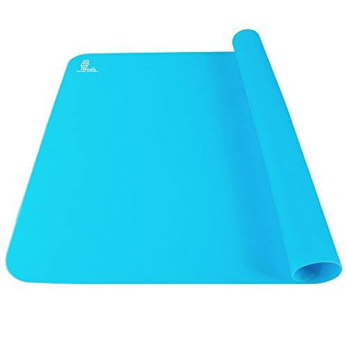 Antihafte Rutschfeste Backunterlage/Backmatte Silikon Groß 60x40cm Ausrollmatte Teigmatte Silikonmatte Backfolie Arbeitsmatte für Fondant Gebäck Pizza Matte, BPA Frei, von Super Kitchen (Blau)