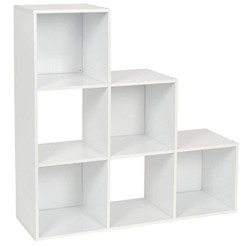 ts-ideen Stufenregal Design Regal 6 Fächer Standregal Bücherregal CD-Regal Aufbewahrung Holz weiss 90 x 90 cm