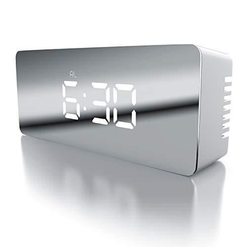 CSL - LED Wecker digital inkl. Temperaturanzeige | Reisewecker Alarmwecker | Innen-Temperaturanzeige | Schlummerfunktion | 12-/24-h-Format | Nachtmodus | 2X Helligkeitsstufen | schwarz