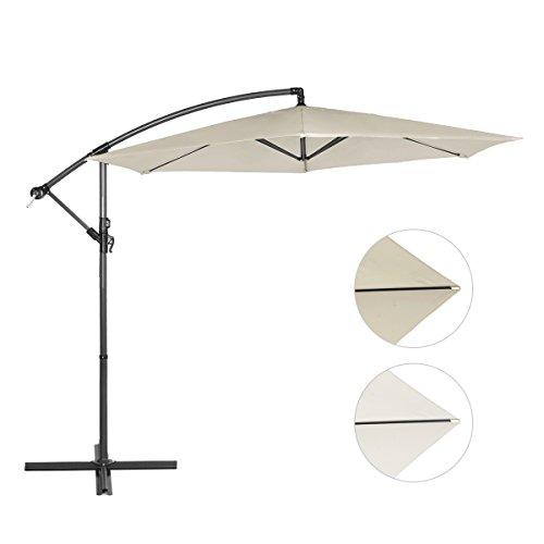 Sekey Ampelschirm 300 cm Sonnenschirm Gartenschirm Kurbelschirm Beige/Taupe mit Kurbelvorrichtung Sonnenschutz UV50+