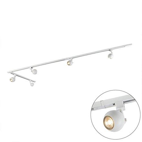 QAZQA Modern Schienensystem / Spotlight / Deckenspot / Deckenstrahler / Strahler Gissi 5-flammig weiß / Innenbeleuchtung / Wohnzimmer / Schlafzimmer / Küche Aluminium / Metall / Länglich LED geeignet