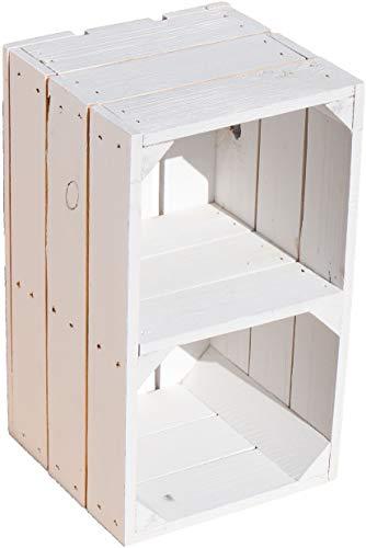 Kistenkolli Altes Land Regalkiste Hilde weiß mit Mittelbrett 38x22x21cm Weinkiste Holzkiste Apfelkiste Balkonmöbel Gartendeko