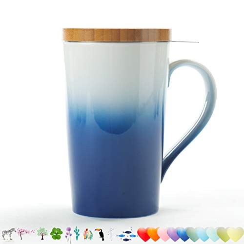 TEANAGOO M066 Keramik-Teebecher mit Infuser & Deckel, 510 ML, Marineblau, Reisegeschirr mit Filter, Teetassen-Steeper-Maker, Brauenfilter für losen Blatttee, Diffusor EIN Set Tee-Liebhaber-Geschenk