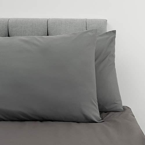 Dreamzie  2er-Set Kopfkissenbezüge 80 x 80 cm, Anthrazitgrau, Mikrofaser (100% Polyester) - Kissenbezüge - Kissenhülle Bezüge für Kopfkissen - Gemütlicher Hochwertiger Kissenbezug Hypoallergen