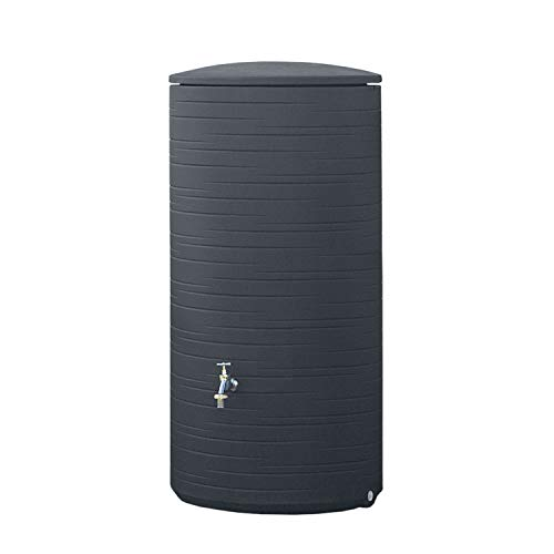 Regentonne anthrazit Regenwassertank Novara 285 Liter aus UV- und witterungsbeständigem Material. Regenfass bzw. Regenwassertonne mit kindersicherem Deckel und hochwertigen Messinganschlüssen