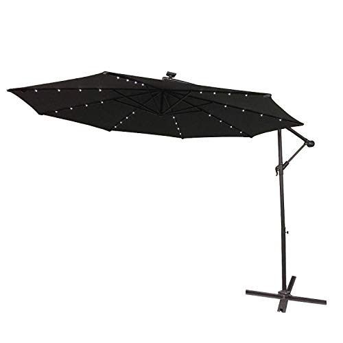 AUFUN Alu Sonnenschirme 300cm mit Solarbetriebene Warmweiß LED UV Schutz 40+ - Dunkelgrau balkonschirm gartenschirm höhenverstellbarer (Dunkelgrau mit solar LED)