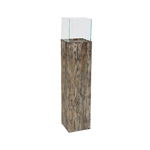 greemotion Windlichtsäule aus Kiefernholz-Blumensäule aus Glas-Pflanzsäule Innen & Außen-Dekosäule für Den Garten Ca. 26,5 x 26,5 x 120 cm, Holz, Braun, L