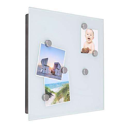 bonsport Schlüsselkasten mit Glas Magnettafel - Memoboard inkl. 6 Magnete, 32 x 32 x 4 cm - weiß