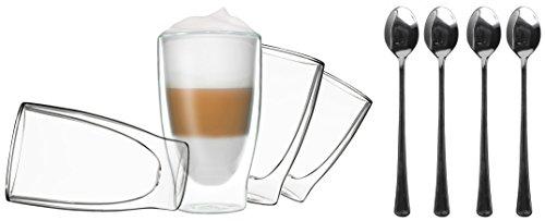 4x 400ml doppelwandige Gläser + 4 Löffel - Set Thermogläser mit Schwebe-Effekt, auch für Latte Macchiato, Eistee, Säfte, Longdrinks, Cocktails geeignet, DUOS by Feelino