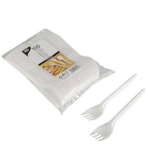 Papstar Plastikgabeln / Einweggabeln weiß (100 Stück) aus Polystyrol (Kunststoff), 17.5 cm Länge, klassische Gestaltung, gute Stabilität, #16430