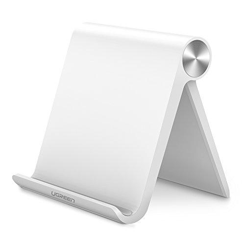 UGREEN Handy Ständer Phone Stand Multi Winkel ipad Ständer verstellbar Tisch Halterung für iPhone X/8/7/6/6/5s, Samsung Galaxy Tab A/E/E Lite/S8/Note 8,Huawei, iPads max.7 Zoll, Google Nexus,MP3 Weiß