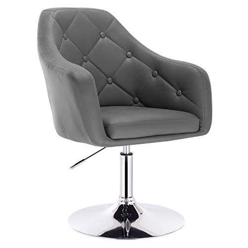 WOLTU BH104gr 1x Barsessel Loungesessel, stufenlose Höhenverstellung, verchromter Stahl, Kunstleder, gut gepolsterte Sitzfläche mit Armlehne und Rücklehne, Grau