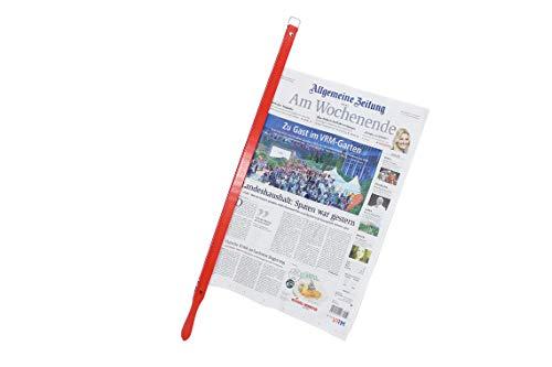 BigDean Presto Zeitungshalter Rot Zeitungsstock Buche 58 cm Einspannlänge