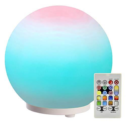 LED Kugel-Leuchte aus Glas mit Fernbedienung, Bunt | Nachttisch-Leuchte Mehrfabig Schlummerlicht modern Schlafzimmer-Lampe Kugel-Lampe Farbwechsel Stimmungslicht Dimmbares Nachtlicht Kinderzimmer RGB