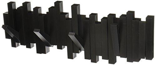 Umbra Sticks Garderobenhaken – Moderne und Platzsparende Garderobenleiste mit 5 Beweglichen Haken für Jacken, Mäntel, Schals, Handtaschen und Mehr, Schwarz