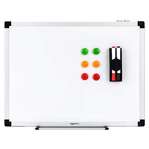 AmazonBasics Magnetisches Whiteboard mit Stiftablage und Aluminiumleisten, trocken abwischbar, 90 x 60 cm (B x H)