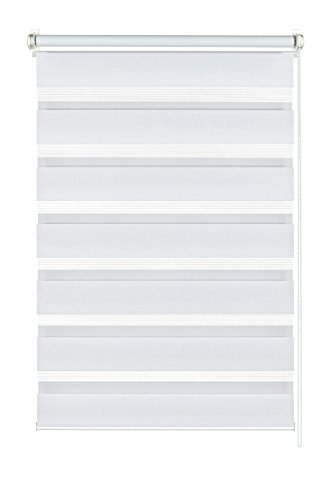 GARDINIA Doppelrollo zum Klemmen oder Kleben, Duo-Rollo/ Seitenzugrollo, Transparente und blickdichte Streifen, Alle Montage-Teile inklusive, Weiß, 90 x 220 cm (BxH)