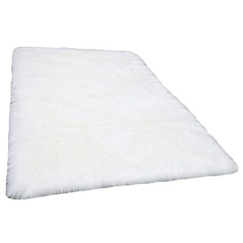 Spitzenqualität Lammfellimitat Teppich 80 x 150 cm Lammfellimitat Teppich Longhair Fell Nachahmung Wolle Bettvorleger Sofa Matte (Weiß)