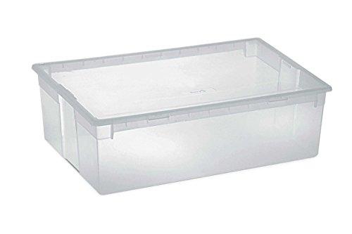 XL Aufbewahrungsbox mit Deckel aus robustem und transparentem Kunststoff. Maße: 57,8 x 39,6 x 18,5 cm. Stapelbar, mit Deckel! Topp Qualität