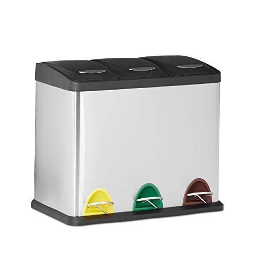 Relaxdays Mülleimer 3-fach, kleiner Tretmülleimer für Mülltrennung, Inneneimer 3x8L, Edelstahl, HBT: 40x48x28, silber