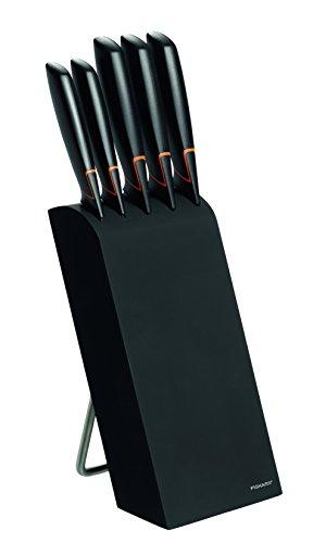 Fiskars Design-Messerblock mit 5 Messern, Breite: 15,5 cm, Höhe: 37 cm, Birkenholz, Schwarz, Edge, 1003099