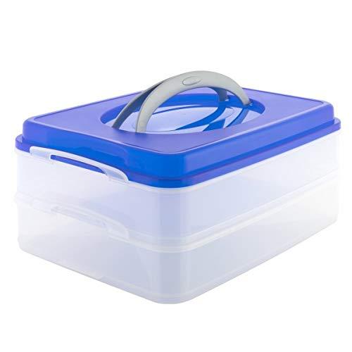 Oxid7 Partycontainer Transport-Box mit Tragegriff | Kuchenbehälter und Lebensmittelbox mit 2 Etagen | Aufbewahrungsbox, Aufbewahrungsbehälter, Frischhaltebox | 40x30x18cm (Blau)