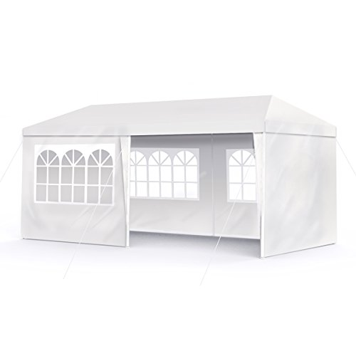 Sekey 3x6m Garten Wasserdicht Pavillon / Gartenpavillon / Verstellbare / Gartenzelt Beine, für Garten / Party / Hochzeit / Picknick, UV30+,Seitenwänden,weiß