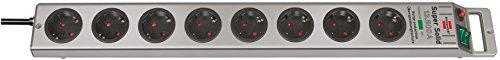 Brennenstuhl Super-Solid, Steckdosenleiste 8-fach mit Überspannungsschutz (2,5m Kabel und Schalter - aus bruchfestem Polycarbonat) Farbe: Silber