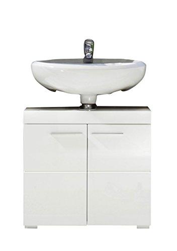 Trendteam Badezimmer Waschbeckenunterschrank Unterschrank Amanda, 60 x 56 x 34 cm in Weiß Hochglanz mit viel Stauraum