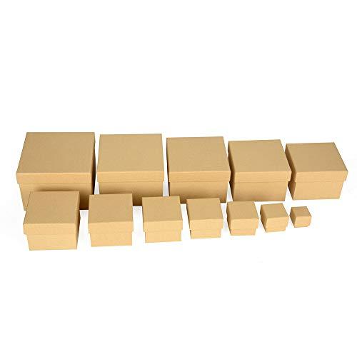 ewtshop Geschenkboxen, 12er Set, stabiles Material mit feinem Kraftpapier überzogen, Kraftpapierboxen, auch für Scrapbooking