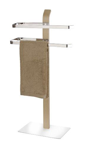 WENKO 20396100 Handtuchständer Samona Nature mit 2 Armen - Kleiderständer, Stahl, 40.5 x 79.5 x 21.5 cm, Chrom