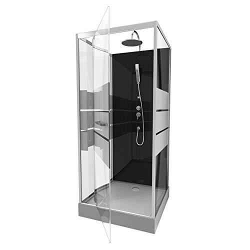 MARWELL Design Komplettdusche - 90 x 90 x 225 cm - mit Fronteinstieg - rechteckig - silber/schwarz - hochwertige Aluminiumprofile