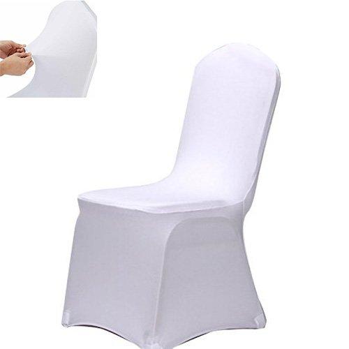 Stuhl Husse, Acelectronic 10 Stück Universell Stuhlhussen Stretch Stuhlbezug Stuhlüberzug der Haus Hochzeit Dekoration,Weiß