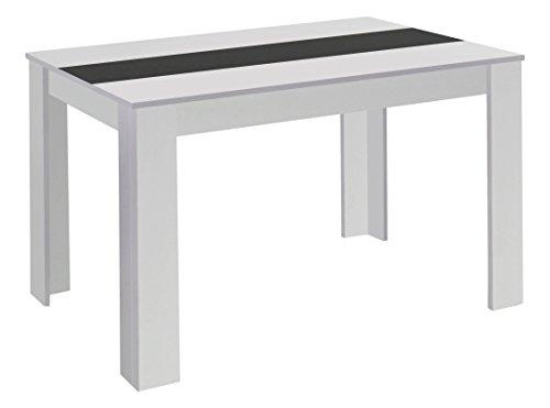 Homexperts Esstisch NICO / Moderner, praktischer Küchentisch 160 x 90 cm in Melamin Weiß mit Mittelplatte in weiß oder schwarz / Esszimmertisch in Weiß  / 160 x 90 x 75 cm (L x B x H)