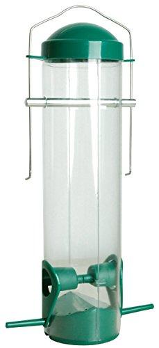 dobar 11502 Plexiglas-Futtersäule mit 2 Anflugstangen, Kunststoff-Futterspender zum Aufhängen, Durchmesser 7 x 25 cm, grün