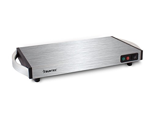 SUNTEC Warmhalteplatte WHP-8472 cordless [Ideal zum Warmhalten von Speisen + Geschirr, robuste Edelstahl-Bauweise, schnelle Aufheizzeit (5-12 Min.), kabelloser Einsatz bis zu 1 Stunde, max. 1100 Watt]