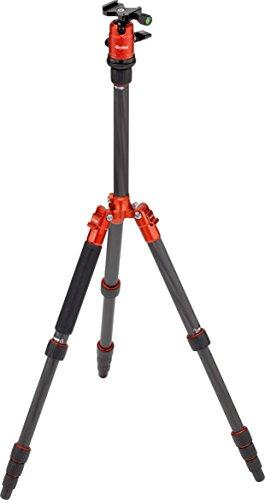 Rollei Compact Traveler No. 1 Carbon - extrem leichtes Reisestativ aus Carbon mit einem Packmaß von nur 33 cm , Monopod-Funktion, Arca Swiss kompatibel, inkl. Kugelkopf und Stativtasche - Orange