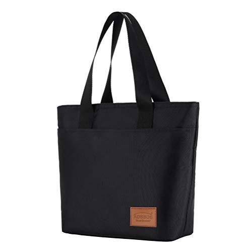 Kühltasche Klein Leicht Handtasche Isoliertasche zur Arbeit Schule Faltbar Wasserdicht Reißverschluss Schwarz