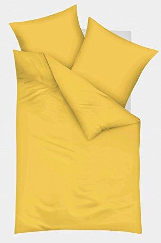 Kaeppel Biber Bettwäsche Uni Gelb Sand Lind Hellblau Terra Einfarbig, Größe:135x200cm Bettwäsche, Farbe:Gelb