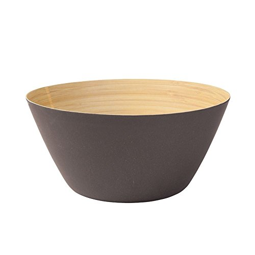 BIOZOYG Premium Bambusschale schwarz anthrazit rund 25,5 cm   Bambus Geschirr Schüssel Müslischale Obstschale Holzschale Salatschüssel Dekoschale Suppenschale Servierschüssel Salatschale