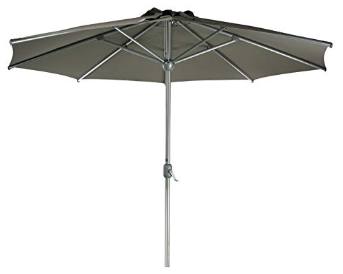 Sonnenschirm Parasol | Taupe Braun Grau | Ø 300 cm / 3m | Rund | SORARA | Apple | Mastdurchmesser Ø 48 mm | Polyester 180 g/m² (UV 50+)| Kurbel Mechansimus (excl. Base)