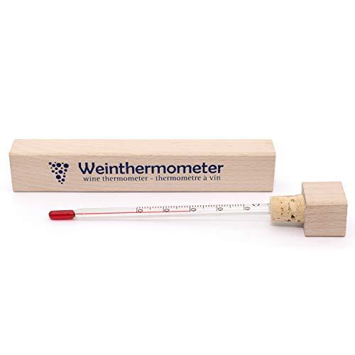 Lantelme Weinthermometer Holzetui Weinglas Wein Thermometer Analog Holz Glas 6273