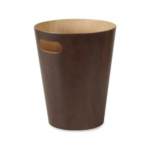 Umbra Woodrow Abfalleimer – Zweifarbiger Holz Papierkorb für Büro, Badezimmer, Wohnzimmer und Mehr, 7,5l Fassungsvermögen, Natur / Espresso