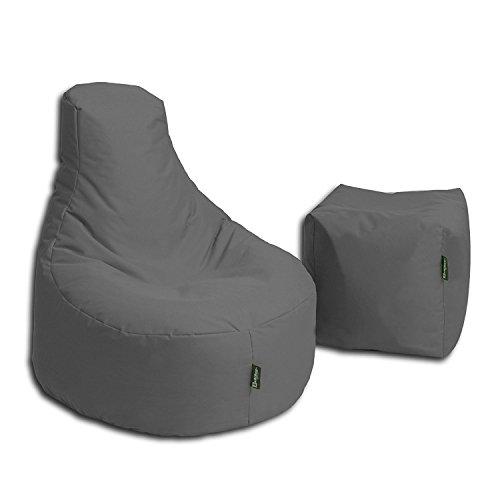 BuBiBag Stillkissen Set Kissen Lounge Gamer Sitzsack Sessel original Sitzkissen In & Outdoor geeignet fertig befüllt in 32 Farben (anthrazit)