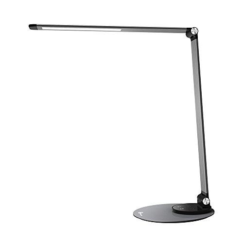 LED Schreibtischlampe TaoTronics Metall Tageslichtlampe mit 6 Helligkeits- und 3 Farbstufen, Ultradünn, Legierung aus Flugzeugtechnik, Speicherfunktion, praktischer USB Ladeanschluss, Energieeffizient