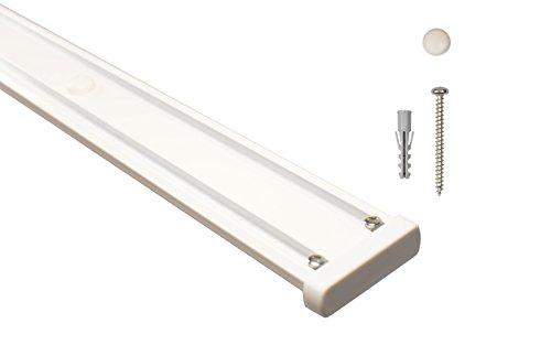 Gardinenschienen 2 läufig aus Aluminium in weiß - vorgebohrt, 200 cm