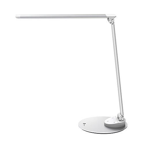 LED Schreibtischlampe Metall TaoTronics Tageslichtlampe, 5 Helligkeitsstufen und 5 Farbtemperaturen, ultradünne Aluminiumlegierung, berührungsempfindlich und blendfrei, Merkfunktion, USB-Ladeanschluss