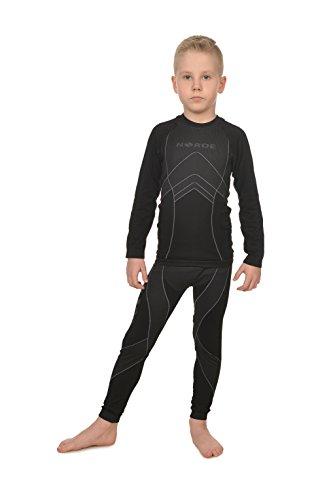 Freenord NORDE THERMOTECH Kinder Sport Thermoaktiv Atmungsaktiv Funktionswäsche (Hemd + Hose) Set (Schwarz/Rosa, 122/128)