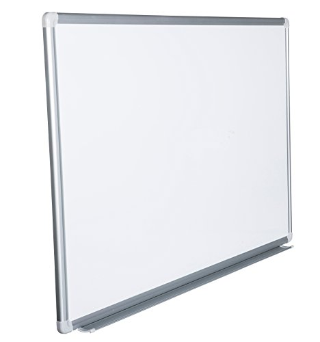 Whiteboard Magnettafel mit Alurahmen und großer Stiftablage, in 10 Größen, schutzlackiert magnethaftend, mit Montagematerial, Fachhandelsqualität, Größe:90x60 cm